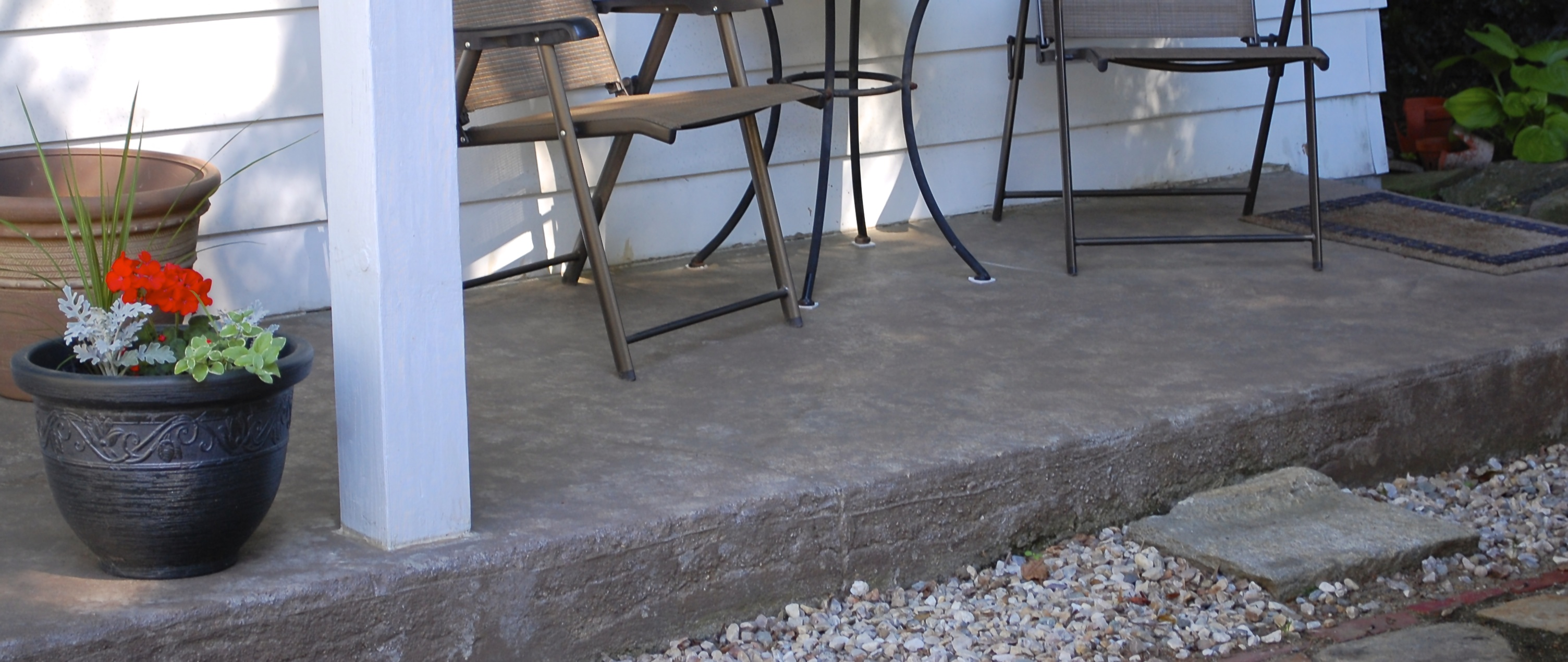 How to revive a concrete patio with stain fire pit life for Fire pit on concrete slab
